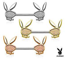 PAIR Sand Blast Sparkle Playboy Bunny Nipple Shields Rings Barbells Body Jewelry