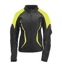FLY STREET Womens BUTANE Textile Motorcycle Jacket (Black/Yellow) Choose Size