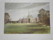 Original Colour Victorian Stately Home Print: Moreton Hall-c1880  Lithograph