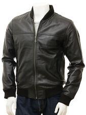 Black Leather Jacket for Men Bomber/Flight Slim Fit Size S M L XL XXL Custom Fit