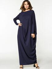 Navy Blue Cotton Bat Sleeve Dress Women Loose Casual Robe Muslim Abaya Kaftan