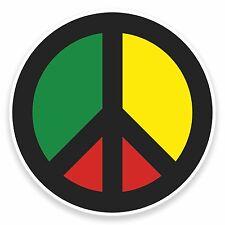 2 x 10cm Rasta Peace Symbol Jamaica Vinyl Sticker Laptop Travel Luggage #9480