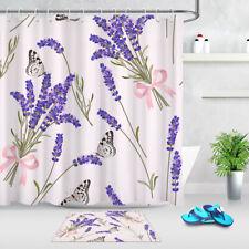 Romantic Purple Lavenders Flower Butterfly Floral Shower Curtain Liner Bath Mat