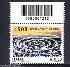 ITALIA 2008 TERREMOTO MESSINA CODICE A BARRE 1212 MNH ** A65 LEGGI LA PROMOZIONE