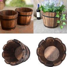 Wooden Barrel Pot Planter Outdoor Garden Plant Flower Rustic Decor New