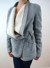 BUI de BARBARA BUI Designer Grey / Cream Shearling Sheepskin Jacket  Sz 36 UK8
