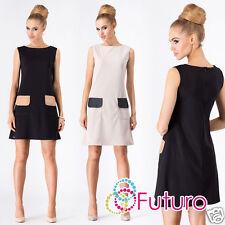 Ladies Elegant Mini Dress With Pockets Sleeveless Shift Tunic Sizes 8-14 FA376
