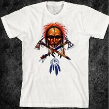 Native American Indian T-Shirt Warrior Skull Western Tomahawk cheyenne sioux
