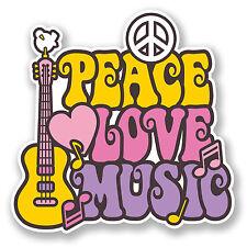 2 X 10 Cm Amor Paz Music pegatina de vinilo Laptop Auto Camper Surf Guitar Kids # 6647