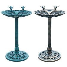 Traditional Garden Bird Bath Pedestal Water Bowl Outdoor Ornament Bronze / Green