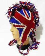 Team England flag Mohawk Hat beanie Pilot handmade 100% Wool Fleecelining