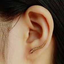 Jewelry Gold 18K Plated Leaf Earrings Modern Beautiful Feather Stud Women Gift