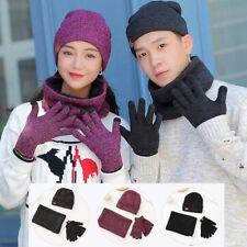 Men Women Winter Gloves Scarf Circle Neck Warmer Fleece Beanie Ski Hat Balaclava