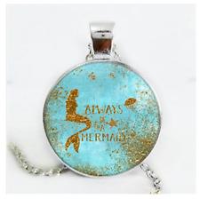 Mermaid Photo Cabochon Glass Silver/Black/Bronze Chain Pendant Necklace