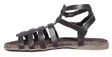 Sandalias De Cuero Para Mujer Blanco Marrón Casual Zapatos De Playa Plana Tiras Hebilla Uk 3-8