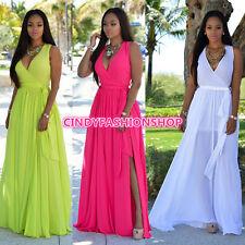 Hot  Summer Women Sleeveless Side Slit  Sashes  Sexy Club Wear Party Maxi Dress