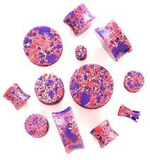 1 Pair Organic Stone Double Flared Saddle Plugs Ear Gauges Pink-Purple Agate