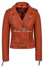 BRANDO Ladies Orange Biker Style Motorcycle Cruiser Napa Leather Jacket LDS MBF