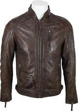 Unicornio London Para Hombre Corta Lujo chaqueta de cuero marrón de tacto suave cuero #dq