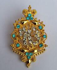 Impresionante Diamante Chapado En Oro SIJ Eik Onkar Singh Broche Pin De Pastel
