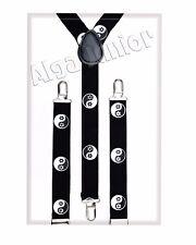 Kids Y-Shape Braces Adjustable Clip on Suspenders Girl 5 15 year Yin Yang flower