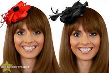 Mini Sombrero Fascinator de la Adultos Casco señoras Vestido de Fantasía Accesorio Rojo Negro
