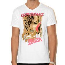 UFFICIALE AMNESIA IBIZA Da Uomo V-Neck T-shirt fauna selvatica Face Bianco CLUB Merch RRP £ 40