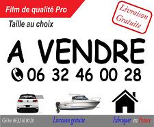 Autocolant sticker A vendre + numéro voiture moto bateau maison