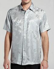 Bamboo Jacquard Charmeuse Pure Silk Short Sleeves Shirt