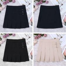 Kids Girls Pleated Scooter Skirt Bowknot School Uniform Dress + Hidden Shorts