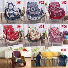 Retro Soft Chenille Throw Blanket Jacquard Tassel Knitted Sofa Chair Cover