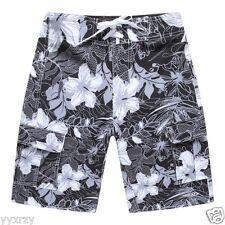 Men Board Shorts Swim Beach wear Trunk Spandex Black White Hibiscus Floral