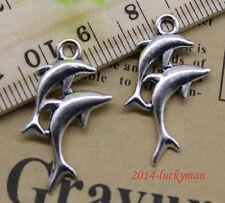 Wholesale 30/60/100pcs retro style lovely dolphins alloy charm pendant 28x14 mm