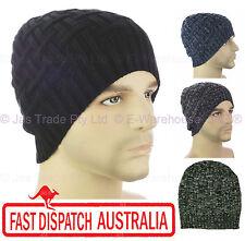Winter Unisex Men Ear Head Warmer Skull Knit Beanie Hat Knit Check Cross Ribbed