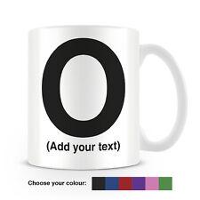 Helvetica lettera o tazza da caffè-può essere personalizzata-aggiungi il tuo nome - 6 COLORI