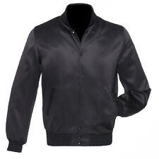 Black Satin Varsity Letterman College Baseball Bomber Jacket Full Black
