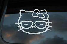 Hello Kitty Cute Glasses Vinyl Sticker Decal (V209) Cute Bow Nerd Choose Size!!!