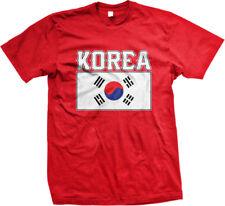 Korea Flag Colors Font Korean Soccer Heritage Born From KOR KR Am Men's T-Shirt