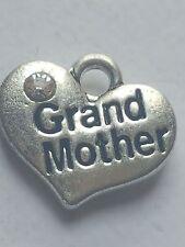 "1 OR 4 ""GRAND MOTHER"" TIBETAN SILVER RHINESTONE  HEART  FAMILY THEME CHARM"