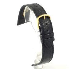 Brillante Lagarto Acabado negro de cuero correa de reloj: 12, 14, 16, 18, 19 o 20 mm (v6)