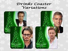 PERSONALISED CHRISTMAS ACTOR DRINKS COASTER STOCKING FILLER XMAS SANTA
