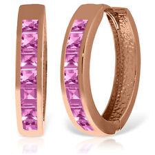 Genuine Princess Cut Pink Sapphire Gemstones Huggie Hoop Earrings 14K Solid Gold