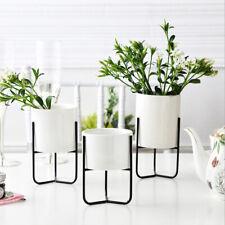 Iron Plant Vase Stand Succulent Planter Holder Ceramic Flower Pot Shelf Rack