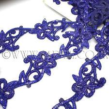BLUE BUGLE BEAD LACE  RHINESTONE BEADED TRIM, edging,trim,sequins,beads