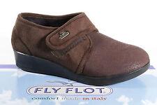 Fly Flot Damen Hausschuhe Pantoffe braun mit Klettverschluß Neu!