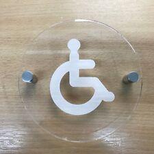 REDONDO GRABADO discapacitados Señal de aseo, Transparente Brillo Acrílico &
