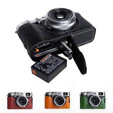 Genuine Real Leather Half Camera Case Bag Cover for FUJIFILM X100F Bottom Open 8