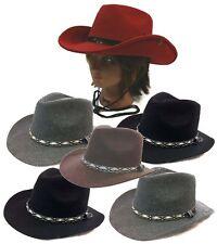 Cowboy Western Fedora Outback Ranger Aussie Wool Felt Bucket Hat Cap