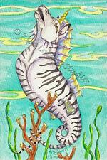 Zebra striped Sea Horse unicorn  ZOO EBSQ original Kim Loberg Fantasy ocean Art