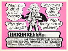 BARBARELLA Movie Poster Jane Fonda 1968 XXX Exploitation Sex